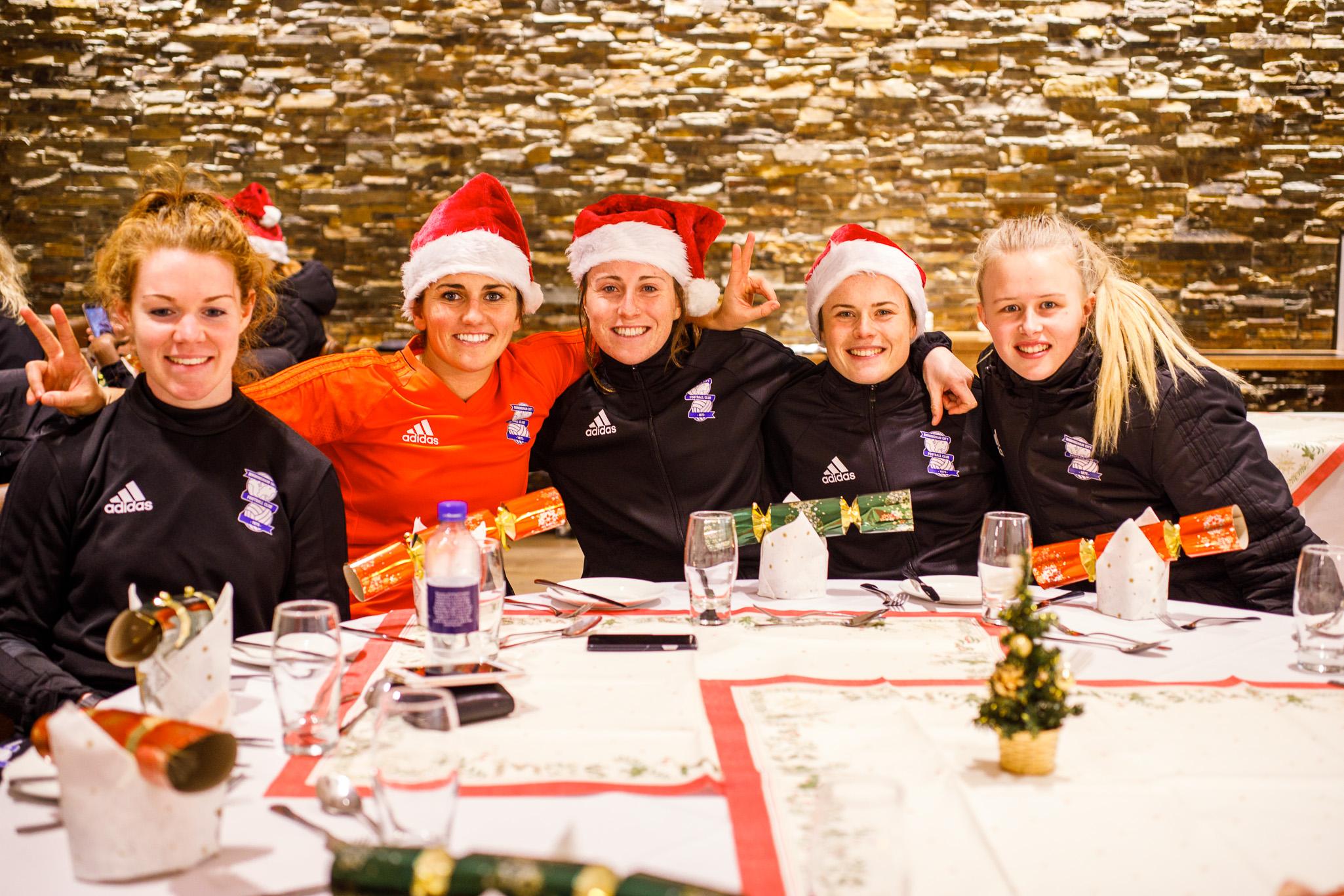 Birmingham City Ladies FC enjoying the full table service