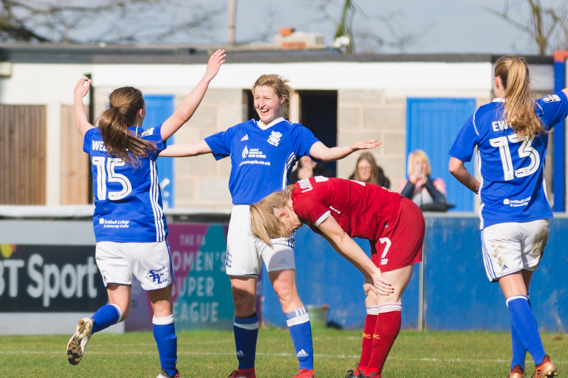 Birmingham City Ladies FC players celebrating