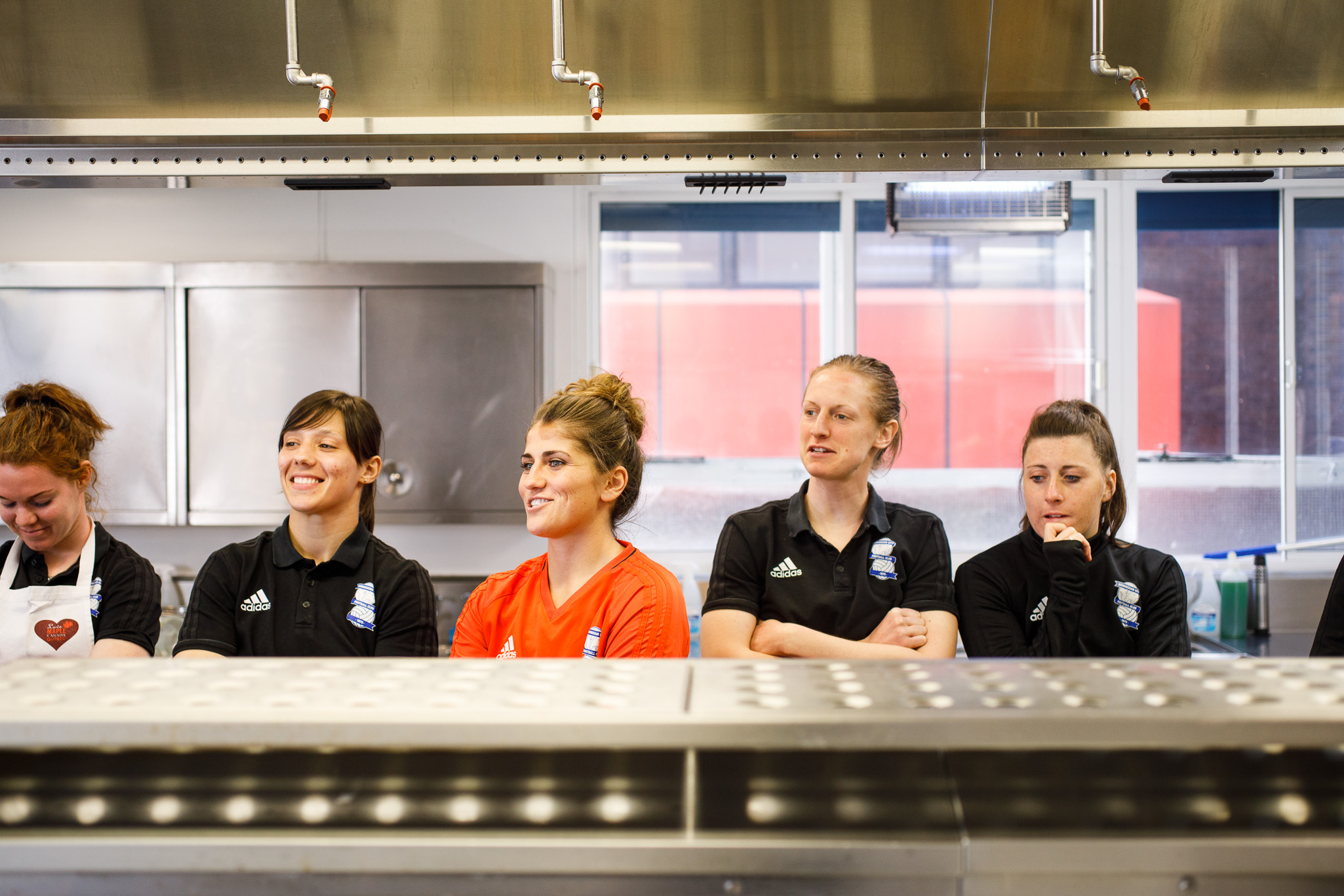 Birmingham City Ladies FC players in the kitchen