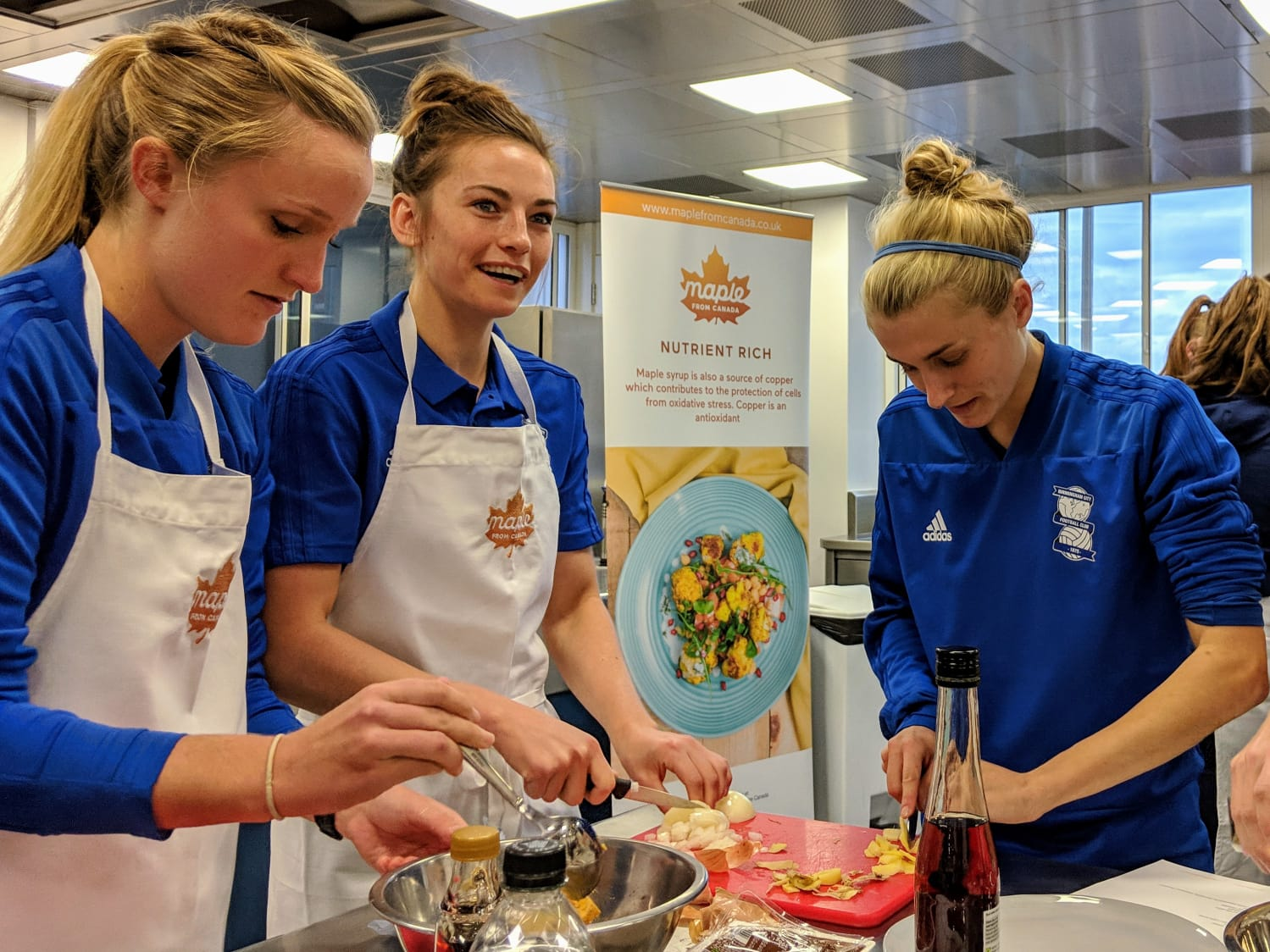 Birmingham City Ladies FC players cooking their meals