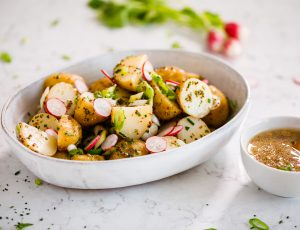New potato salad with maple mustard dressing