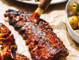 Sticky maple BBQ pork ribs