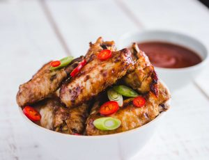 Maple glazed chicken wings with BBQ sauce
