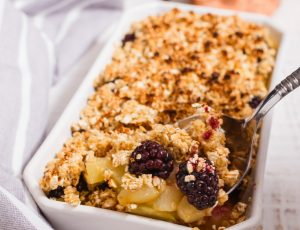 Maple pear and blackberry crumble