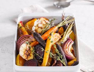 Colourful roasted root vegetables