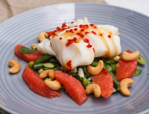 Poached cod fillet with maple dressing