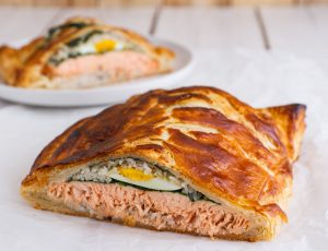 Salmon Wellington with maple basmati rice