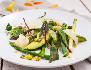 Asparagus and avocado salad with maple dressing
