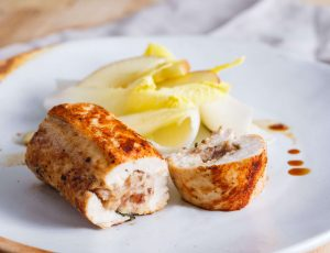 Stuffed chicken breasts with maple glaze