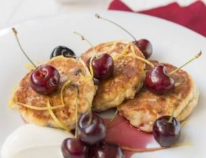 Cream cheese fritters and maple summer cherries