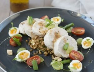 Free-range poached chicken, maple and grape dressing
