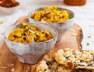 Roasted tofu and cauliflower with maple korma sauce