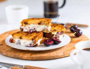 Maple, cherry and mascarpone French toast