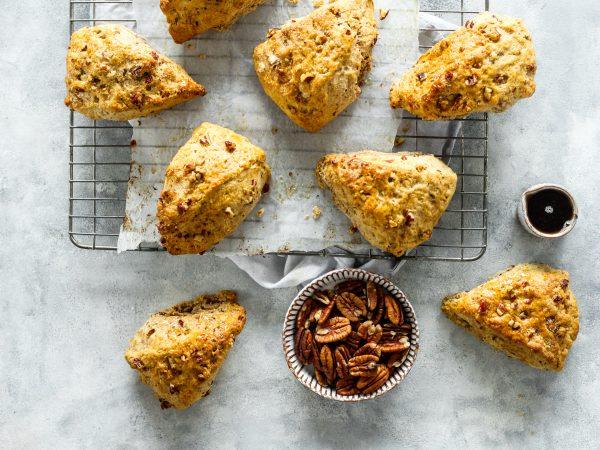 vegan maple and pecan scones