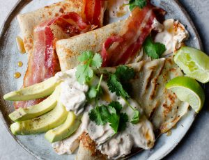 Georgina Hayden's Pancakes with Maple Bacon, Chipotle and Avocado