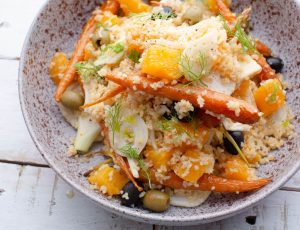 David Colcombe's Maple and Citrus Bulgur Wheat Salad with Baby Carrots and Fennel