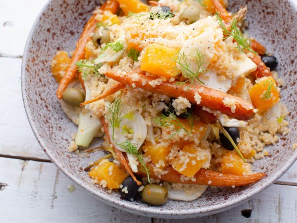 Maple and citrus bulgar wheat salad with baby carrots and fennel