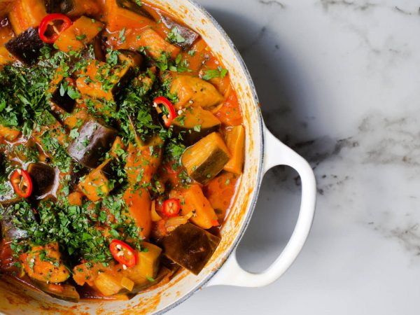Vegan aubergine and maple syrup hot pot