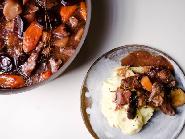 Maple syrup beef casserole with winter root vegetables