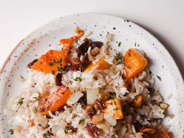 Butternut squash and maple syrup pilaf