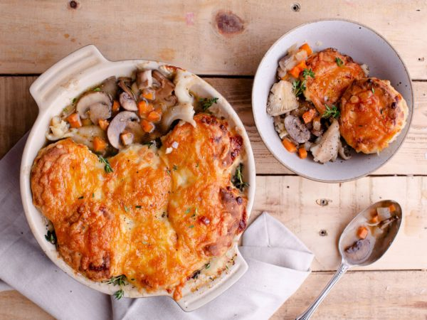 "Mushroom ""bourguignon"" with Cheddar and maple syrup scone topping"