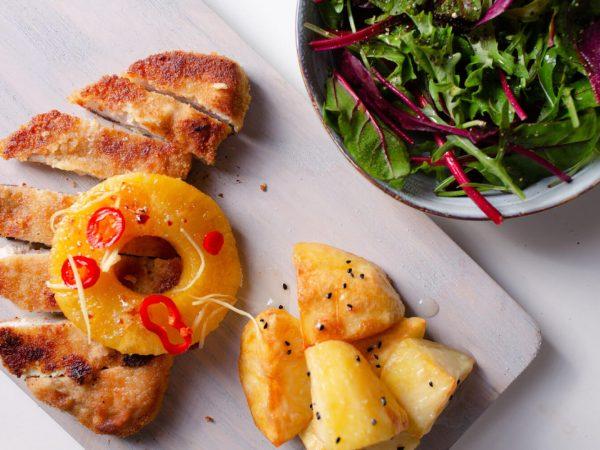 Maple syrup pork loin, pineapple and roast potatoes