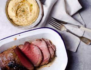 Sweet Spiced Roast Beef with Maple Chickpea Mash