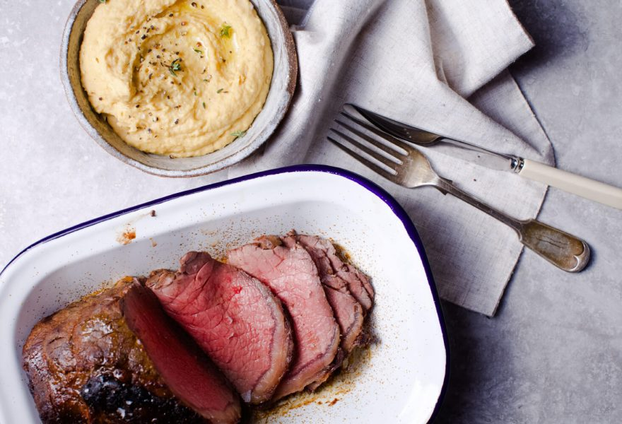 Sweet spiced roast beef with maple syrup chickpea mash