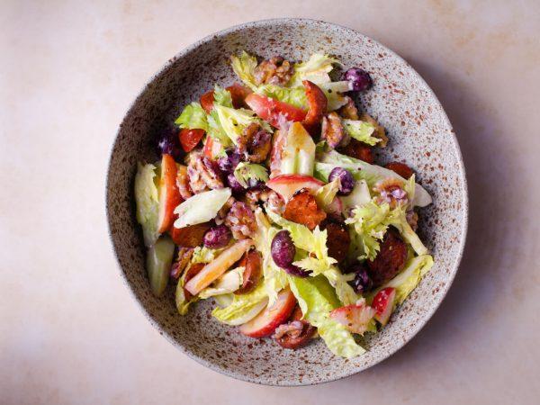 "Maple syrup ""Waldorf"" salad with chorizo"