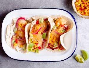 Tempura Fish Tacos with Maple and Sweetcorn Relish