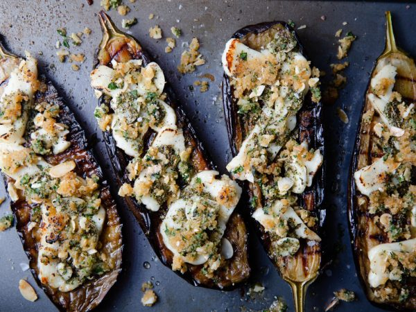 Baked aubergine, halloumi and herby maple crumb