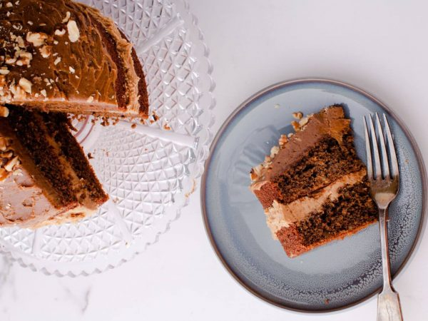Coffee, maple and walnut cake