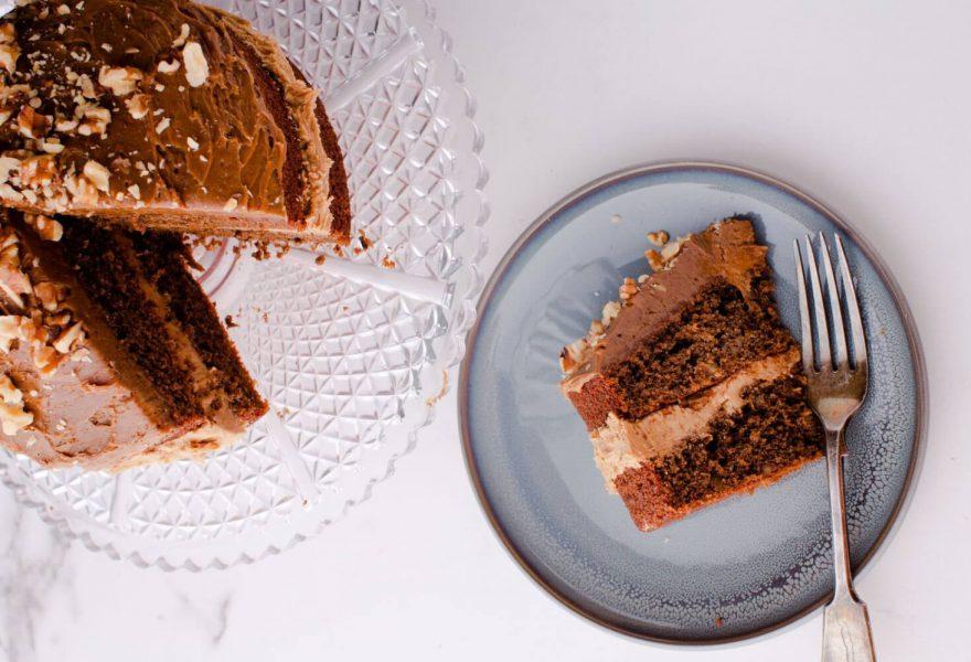 Coffee, maple and walnut cake