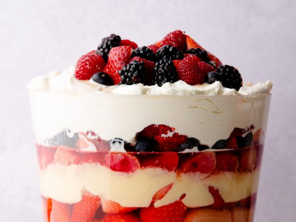 British summer fruit trifle with maple