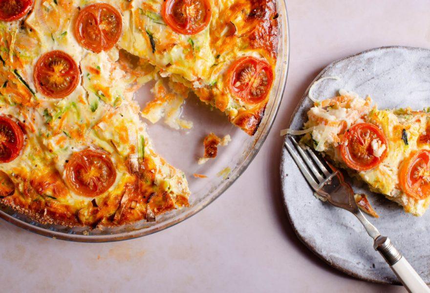 Crustless tomato quiche with maple