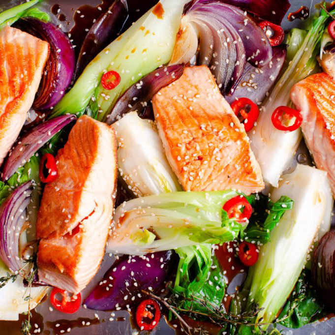 Pan-fried maple salmon with garden vegetables