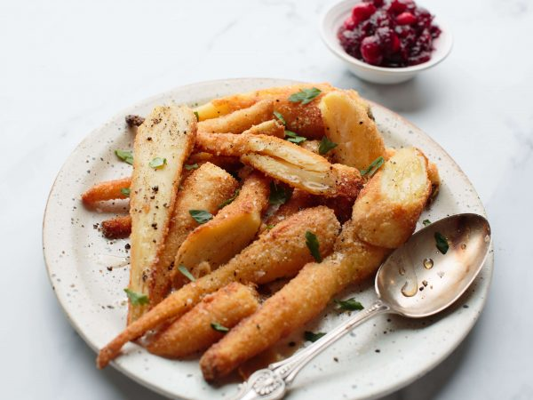 Parmesan and maple parsnips