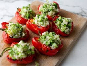 Roasted Red Peppers, Stuffed with Broccoli and Maple Tabbouleh