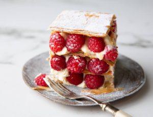 Raspberry Mille Feuille with Maple Custard