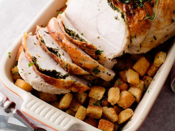 One pan roast turkey with maple croutons