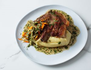 James Golding's Maple Grilled Pork Chop with Whipped Potatoes, Pickled Maple Vinegar Fennel Salad