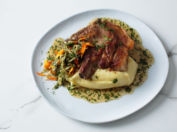 Maple Grilled Pork Chop with Whipped Potatoes, Pickled Maple Vinegar Fennel Salad
