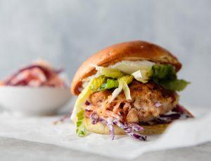 Spicy jerk chicken burger with maple slaw