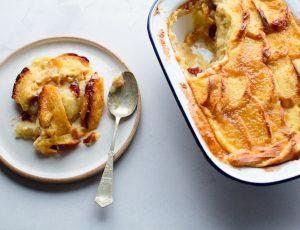Apple and maple brioche butter pudding