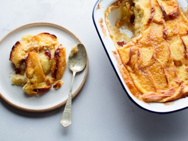 apple and maple brioche butter pudding