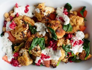 Spiced cauliflower and chickpea with a maple coconut sauce