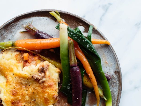 cottage pie with maple caramelised vegetables