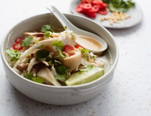 Chicken noodle soup with maple and chillies