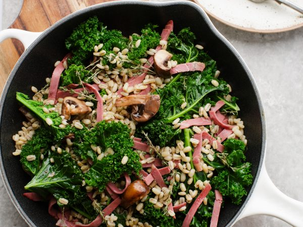 Mushrooms, kale and barley