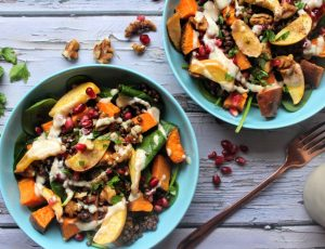 SpamellaB's Maple Roasted Sweet Potato, Apple & Lentil Salad
